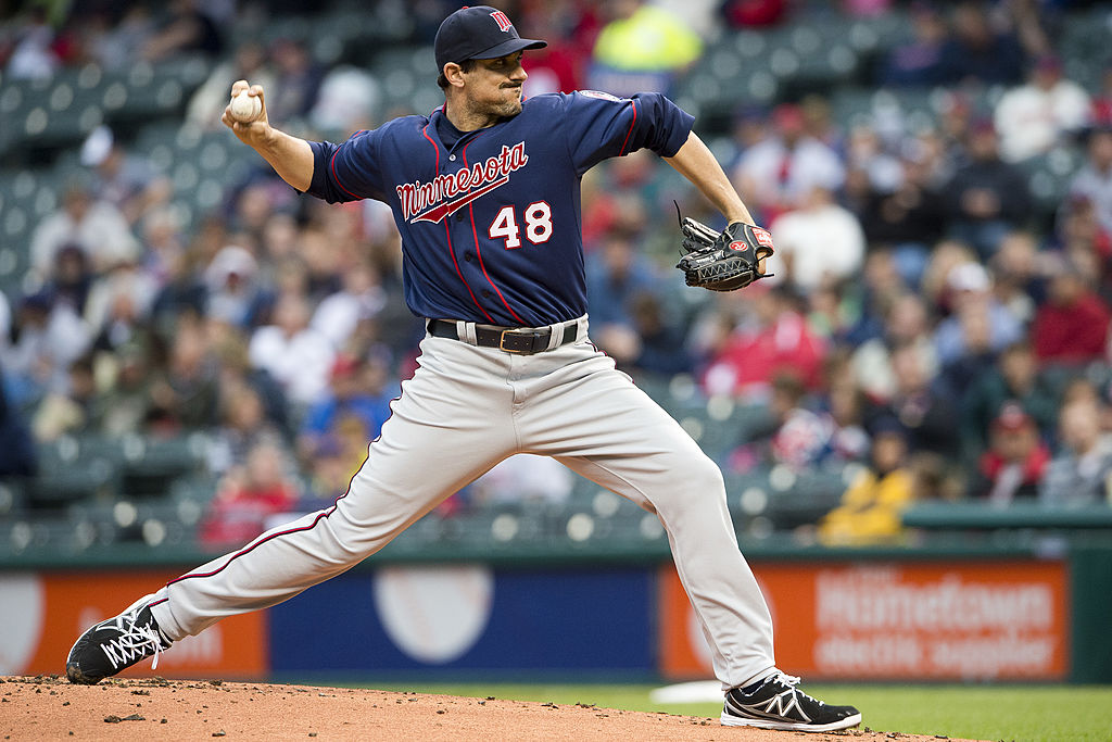 Carl Pavano of the Minnesota Twins winds up to pitch