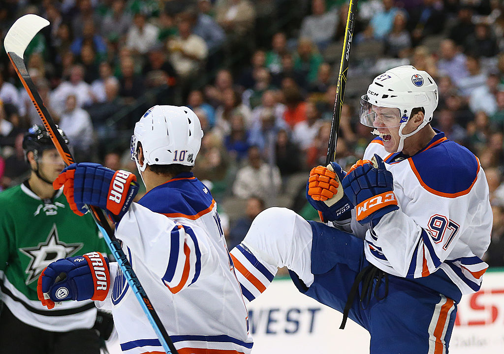 Connor McDavid of the Edmonton Oilers celebrates his goal