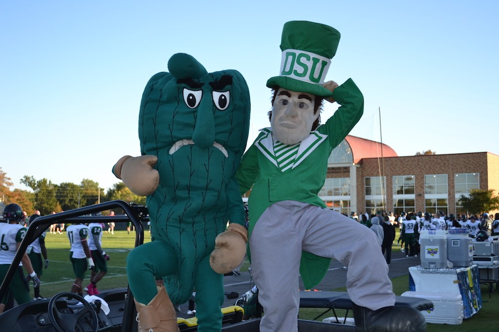 Delta State University's Fighting Okra (L) sits with another confusing DSU mascot