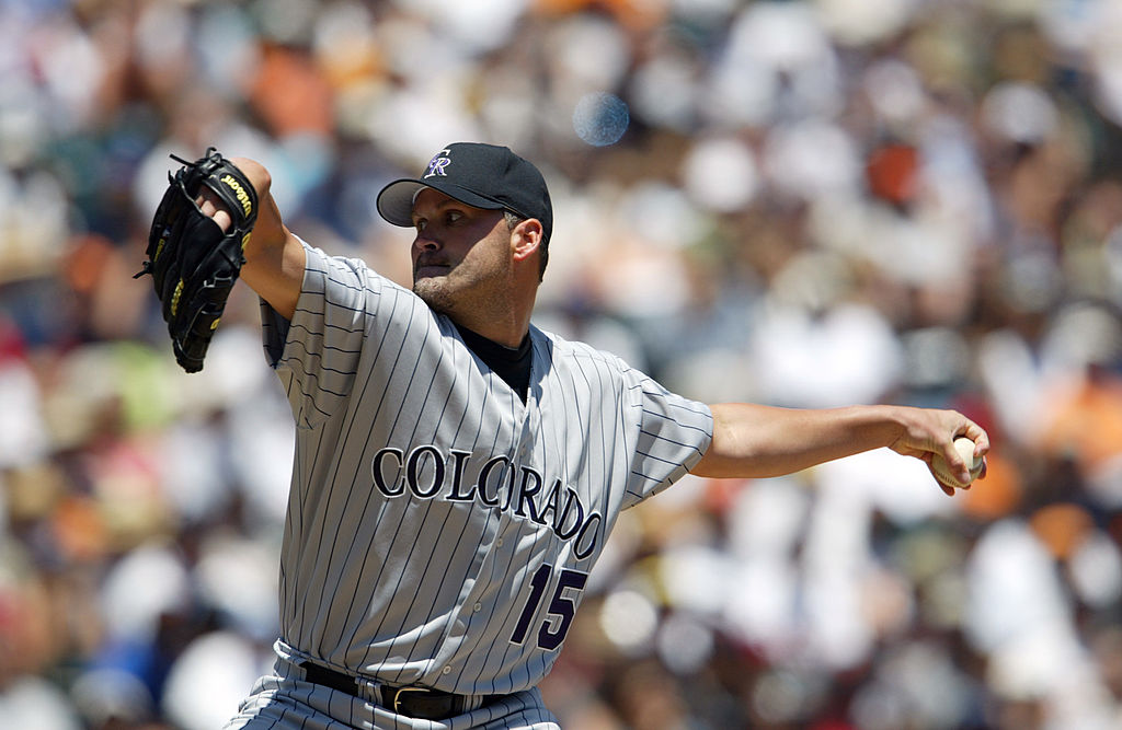 Denny Neagle of the Colorado Rockies delivers a pitch