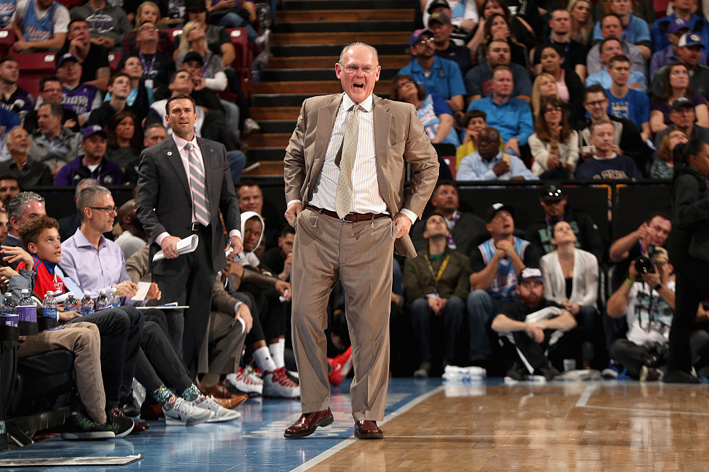 Head coach George Karl of the Sacramento Kings shouts from the sidelines during a game
