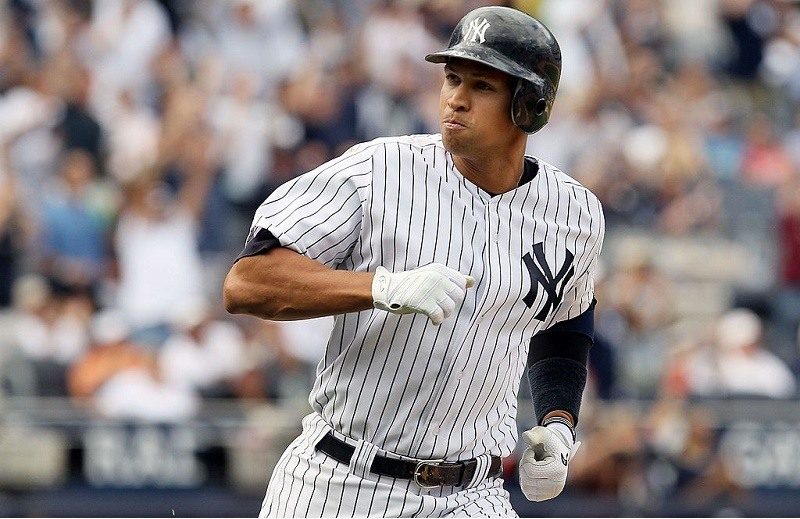 Alex Rodriguez of the New York Yankees celebrates his eighth inning two-run home run against the Seattle Mariners in 2010