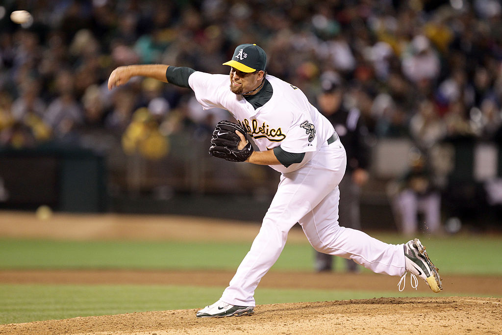 Boof Bonser of the Oakland Athletics pitches during a game