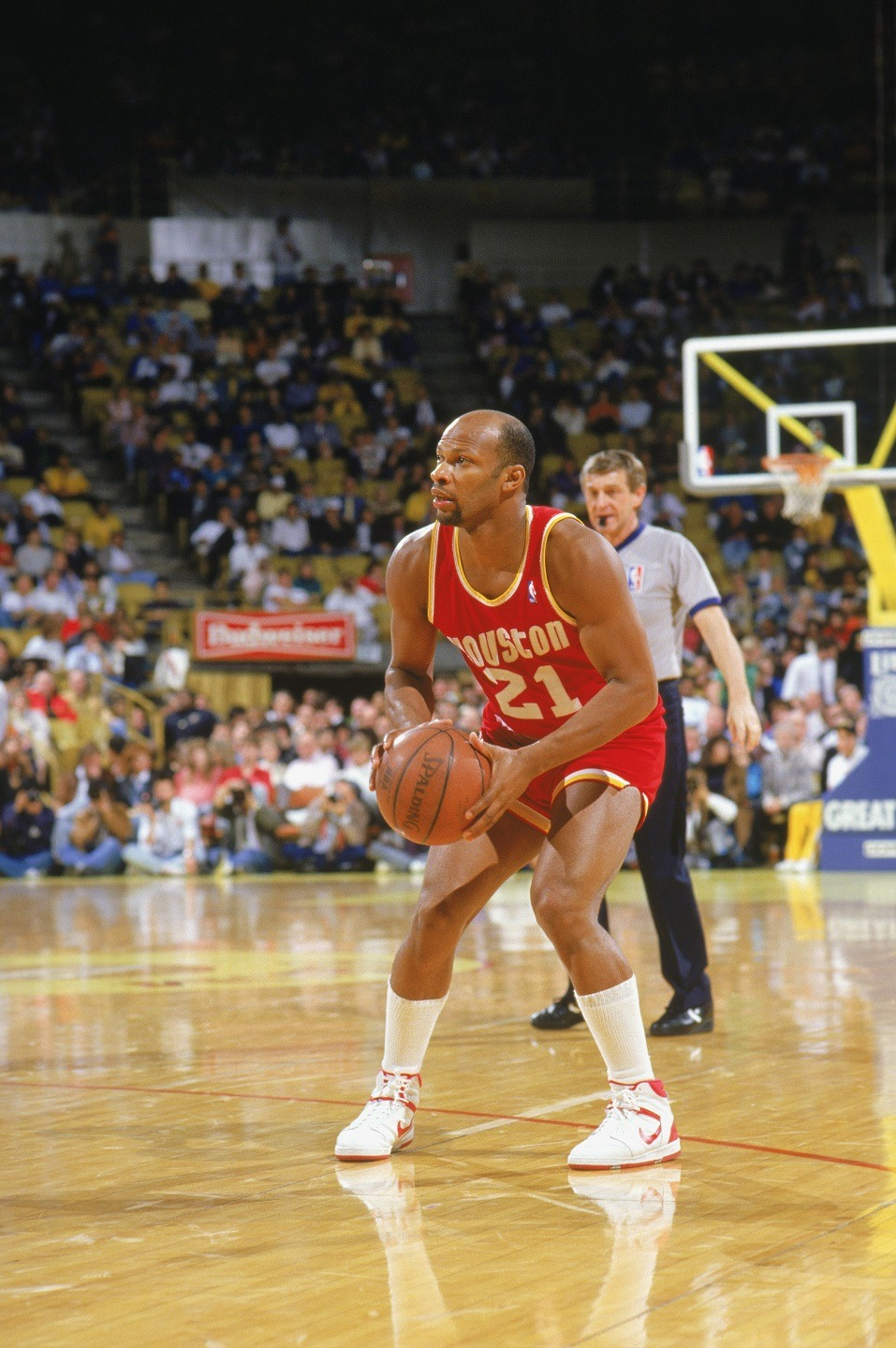 World B. Free of the Houston Rockets looks to shoot during a game