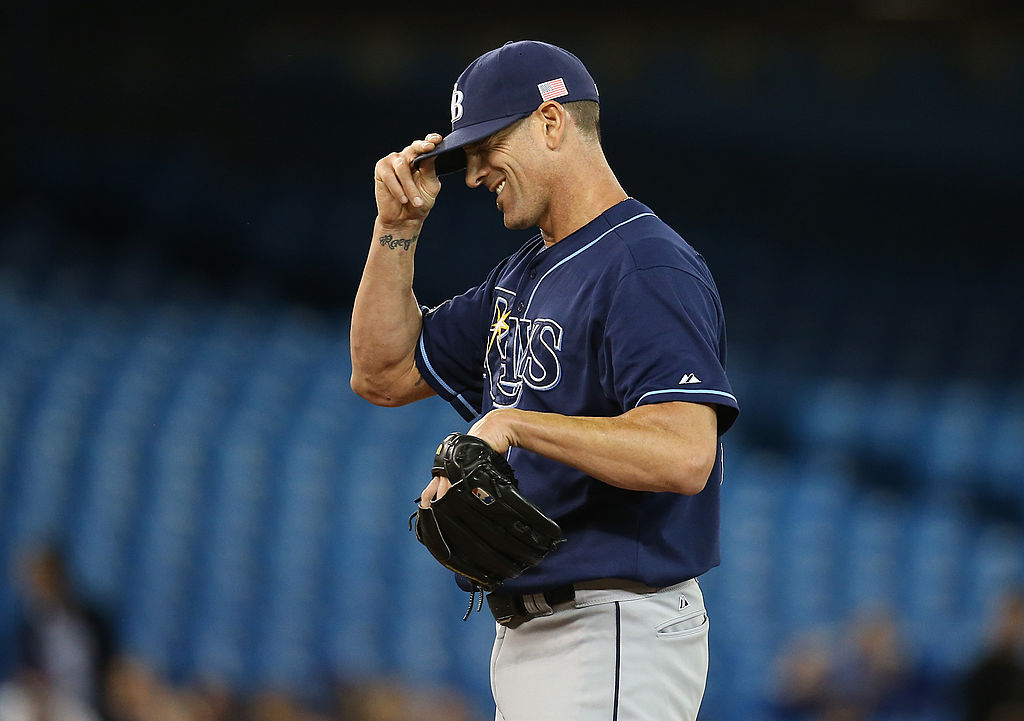 Grant Balfour of the Tampa Bay Rays laughs during a game