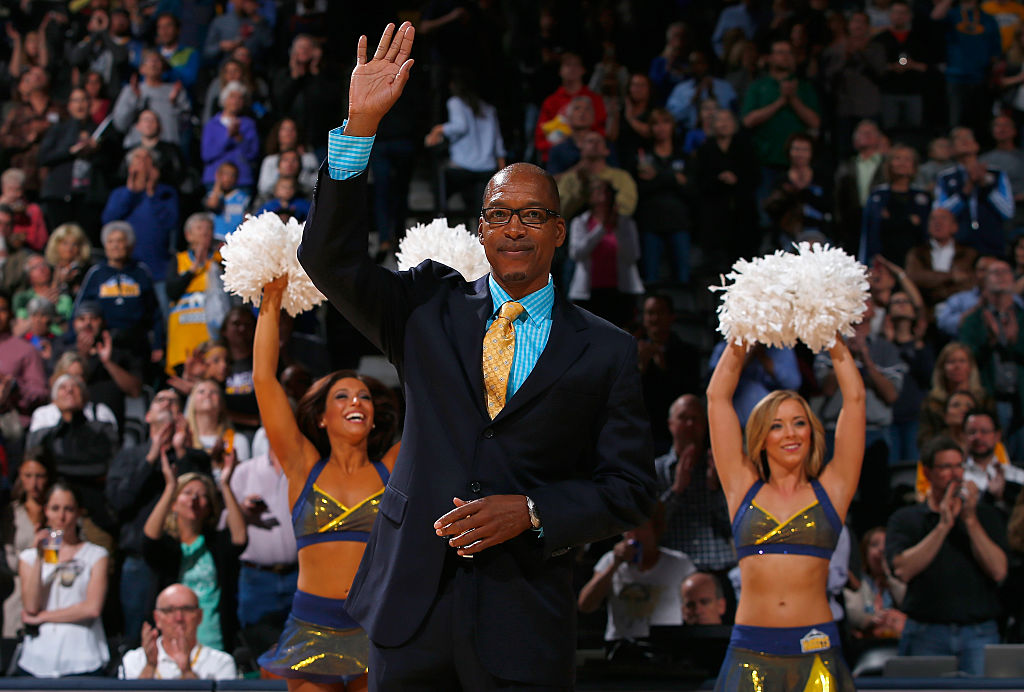 Lafayette 'Fat' Lever, Denver Nuggets alum, is honored during half time against the Los Angeles Lakers