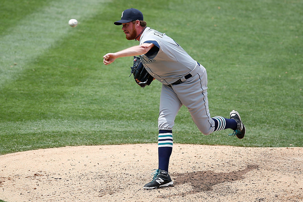 Charlie Furbush of the Seattle Mariners pitches during a game
