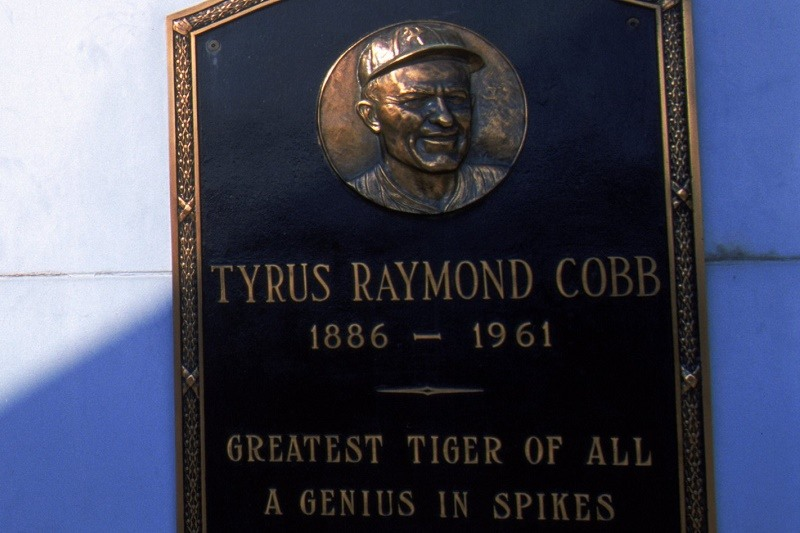 27 Sep 1999: A view of the Tiger Stadium with Tyrus Raymond Cobb plaque taken during the last game played at the Tiger Stadium against the Kansas City Royals in Detroit, Michigan. The Tigers defeated the Royals 8-2.
