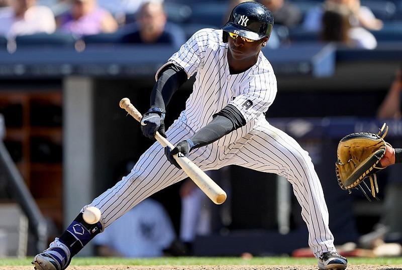 Yankees shortstop Didi Gregorius executing a sacrifice bunt
