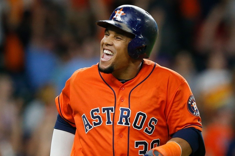 HOUSTON, TX - JULY 01: Carlos Gomez #30 of the Houston Astros celebrates his two-run home run in the seventh inning against the Chicago White Sox at Minute Maid Park on July 1, 2016 in Houston, Texas.