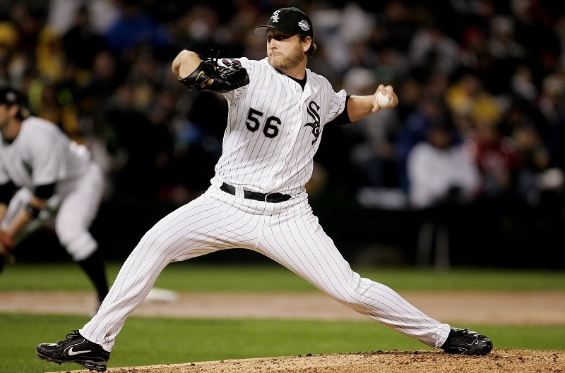 CHICAGO - OCTOBER 23: Starting pitcher Mark Buehrle #56 of the Chicago White Sox throws a pitch against the Houston Astros during the first inning of Game Two of the 2005 Major League Baseball World Series at U.S. Celluar Field on October 23, 2005 in Chicago, Illinois.