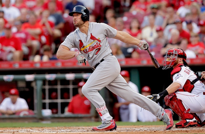 Matt Holliday of the St. Louis Cardinals hits a double