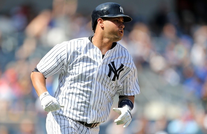 Gary Sanchez of the New York Yankees watches his solo home run