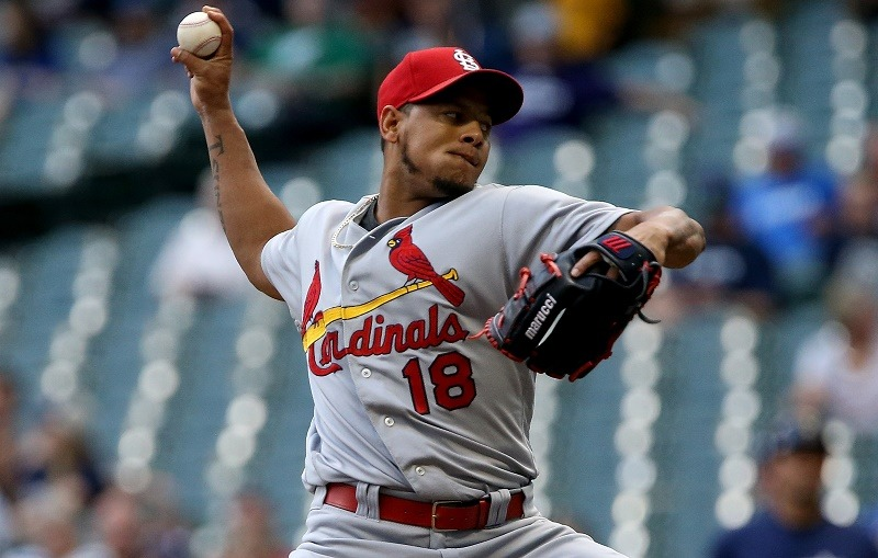 Carlos Martinez of the St. Louis Cardinals pitches against the Milwaukee Brewers.