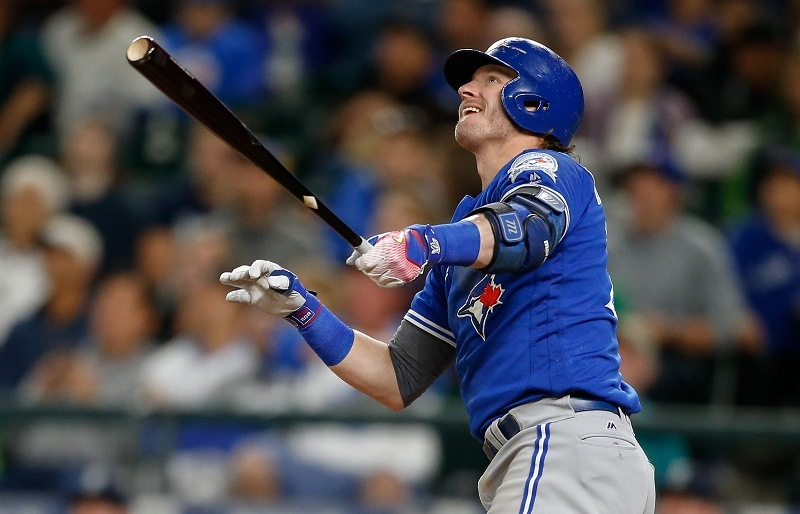 Josh Donaldson of the Toronto Blue Jays hits a solo home run.