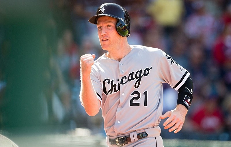 Todd Frazier of the Chicago White Sox celebrates after scoring