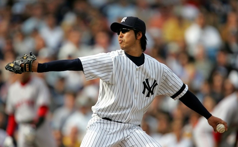 Kei Agawa of the New York Yankees pitches to the Boston Red Sox in 2007