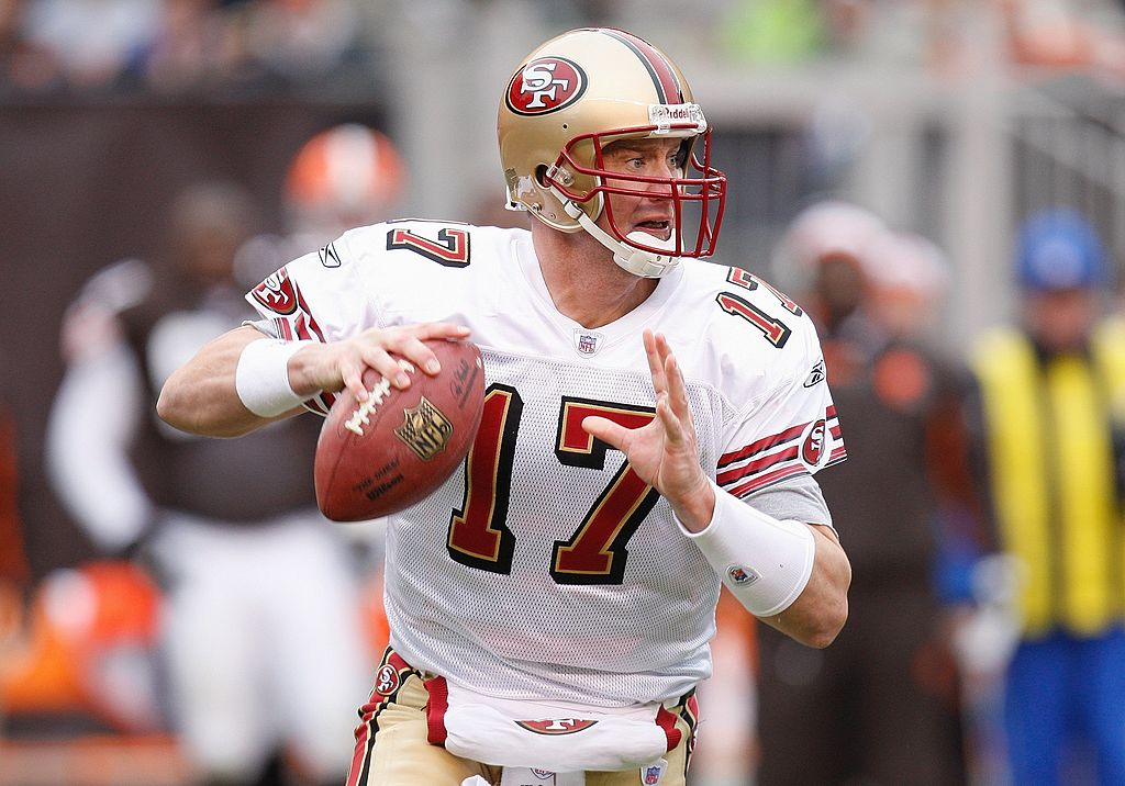 Chris Weinke of the San Francisco 49ers looks to pass the ball