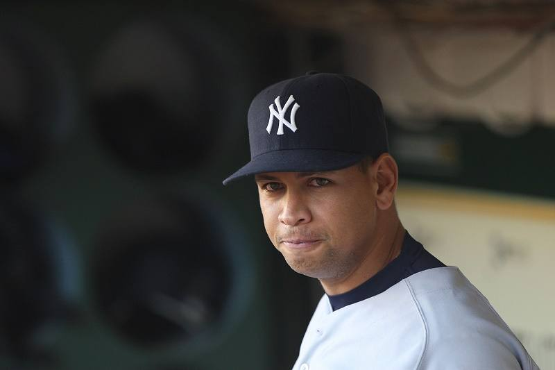 Alex Rodriguez of the New York Yankees looks on against the Oakland Athletics in 2009