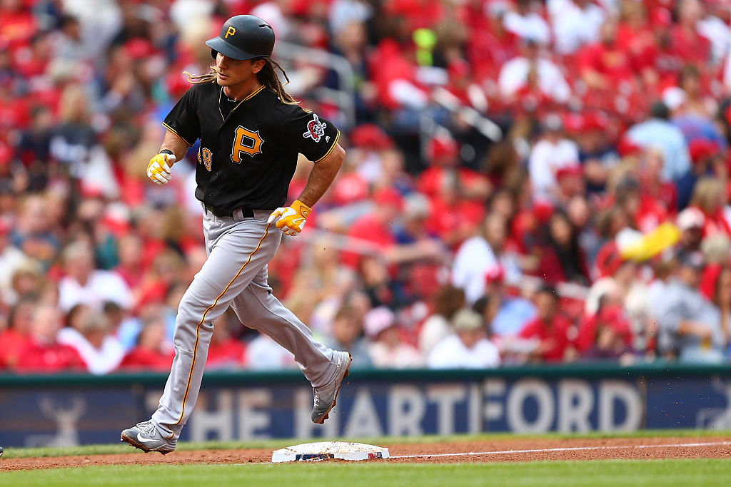John Jaso of the Pittsburgh Pirates rounding the bases