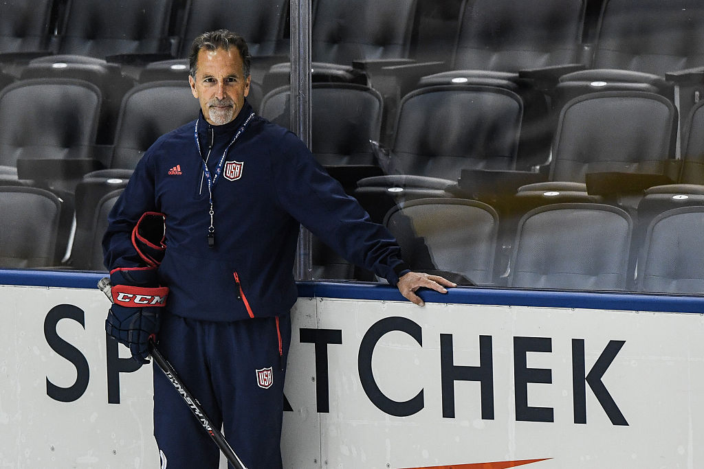 Head coach of Team USA John Tortorella poses on the ice