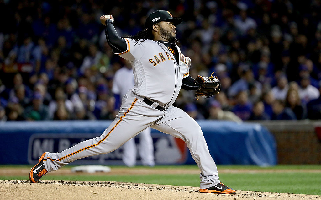 Johnny Cueto pitches for the San Francisco Giants.