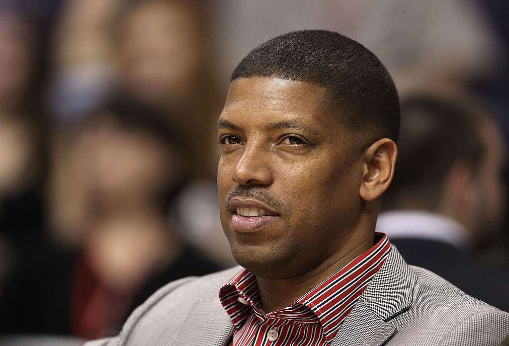 Former NBA player Kevin Johnson attends the game between the Portland Trail Blazers and the Phoenix Suns
