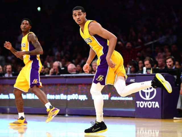 Lou Williams (L) and Jordan Clarkson run down the court