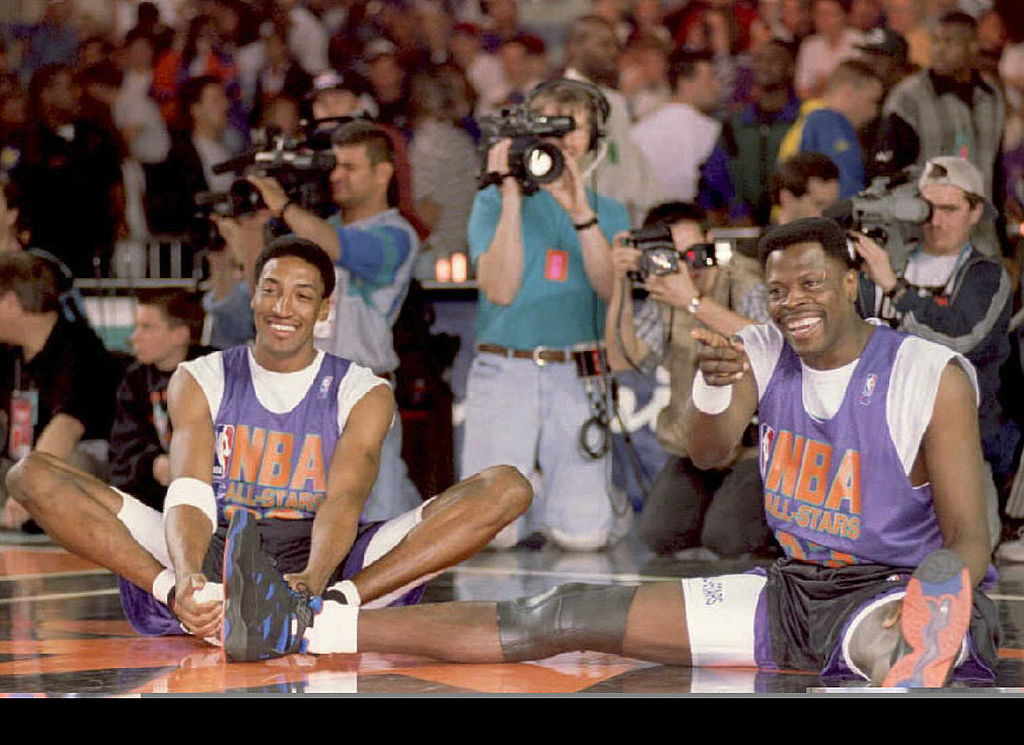 Eastern Conference all-stars Scottie Pippen (L) of the Chicago Bulls and Patrick Ewing of the New York Knicks