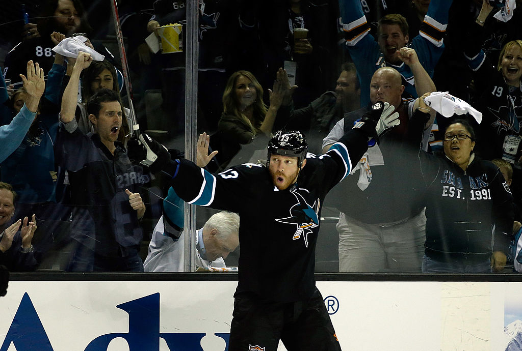 Raffi Torres of the San Jose Sharks celebrates on the ice