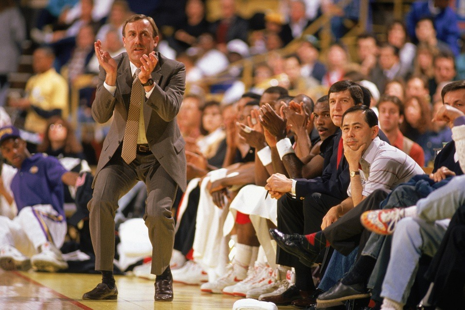Head coach Rick Adelman of the Portland Trail Blazers cheers from the sidelines.