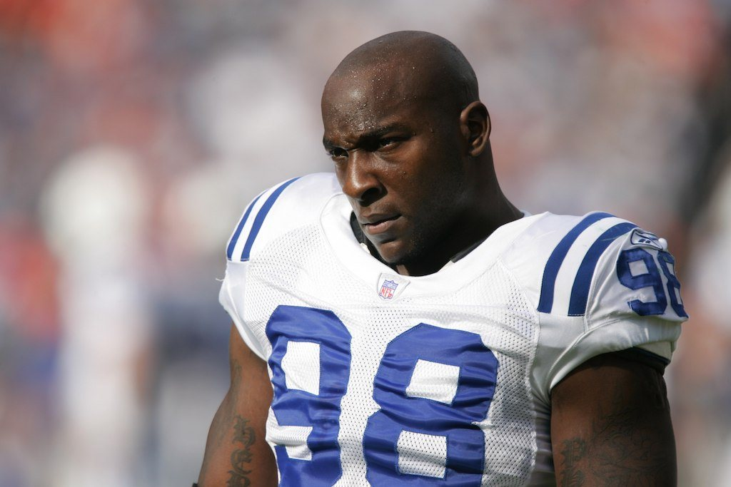 Robert Mathis looks critically at the field before a game | Brian Bahr/Getty Images