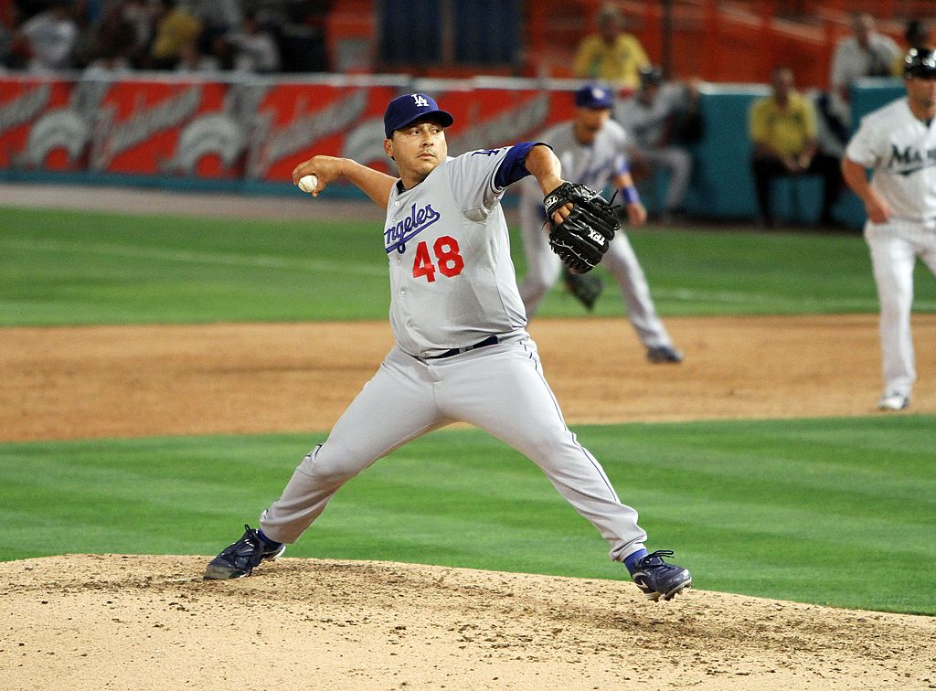 Pitcher Russ Ortiz of the Los Angeles Dodgers