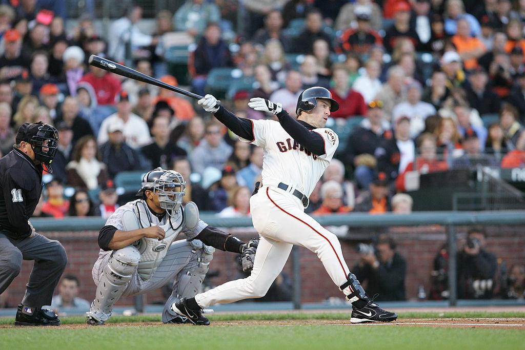 Outfielder Steve Finley #12 of the San Francisco Giants