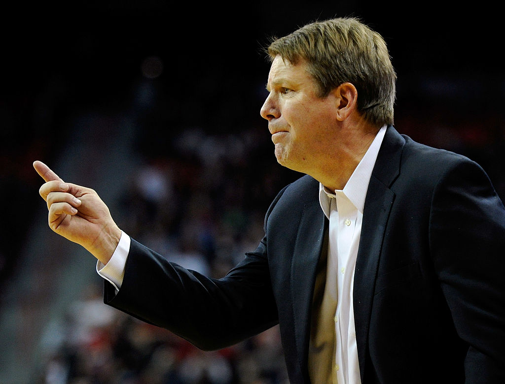Head coach Tim Floyd of the UTEP Miners gestures during a game