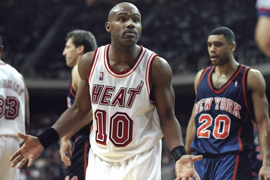 Tim Hardaway of the Miami Heat argues a call with the ref.