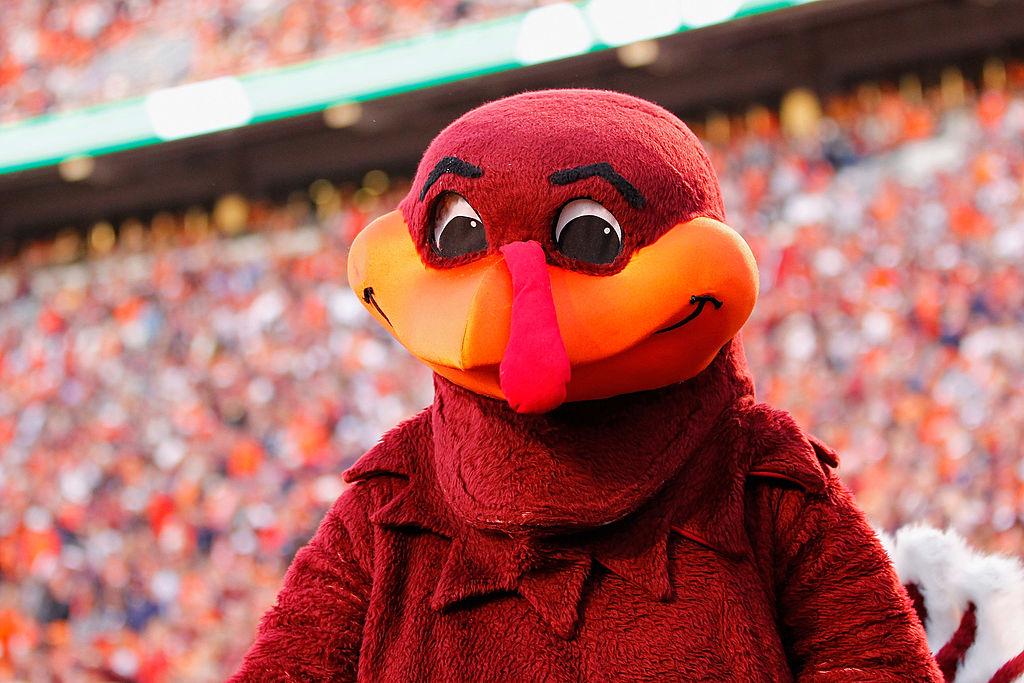 "The Virginia Tech Hokies mascot ""Hokie Bird"" stands on the football field"