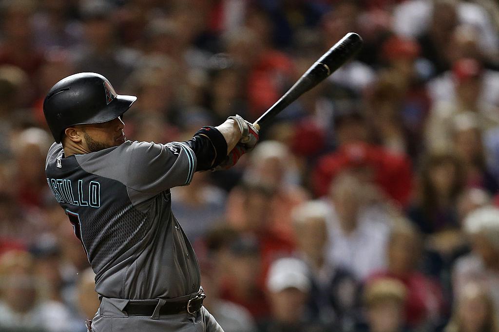 Welington Castillo of the Arizona Diamondbacks swinging a bat.