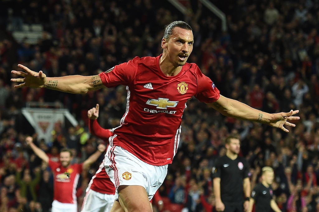 Zlatan Ibrahimovic makes his money at Man U | PAUL ELLIS/AFP/Getty Images