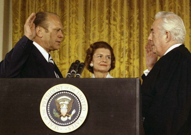 Gerald Ford is sworn in as President of the Unites States.