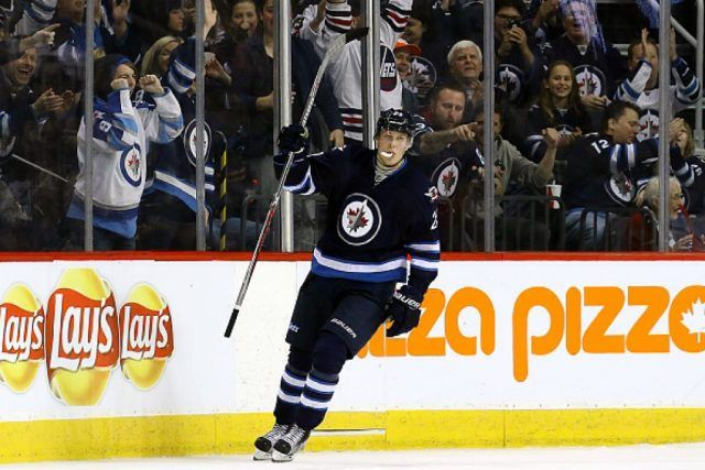 Patrik Laine of the Winnipeg Jets celebrates his shootout goal against the Los Angeles Kings | Jonathan Kozub/NHLI via Getty Images