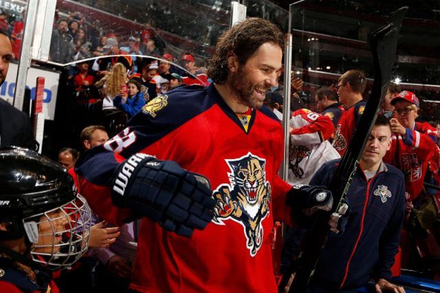 Jaromir Jagr of the Florida Panthers is all smiles while heading out to the ice for warmups | Eliot J. Schechter/NHLI via Getty Images