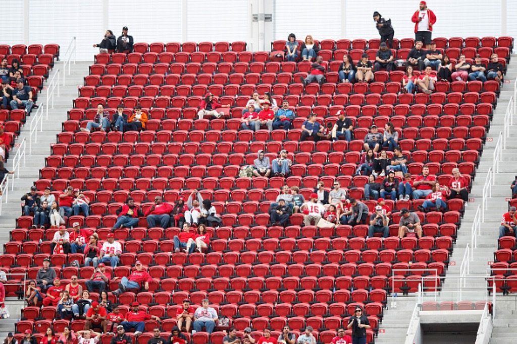 A view of the stands show empty seats at the San Francisco 49ers' Levi's Stadium | Jason O. Watson/Getty Images