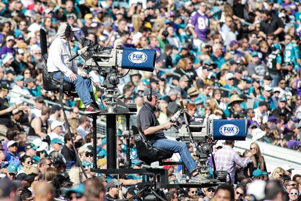 Two Fox Sports television cameras during the NFL game between the Minnesota Vikings and the Jacksonville Jaguars | David Rosenblum/Icon Sportswire via Getty Images