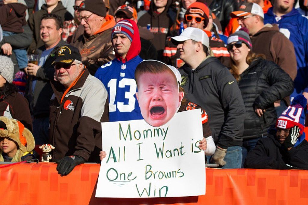 A Cleveland Browns fan holds up a sign in the stands | Frank Jansky/Icon Sportswire via Getty Images