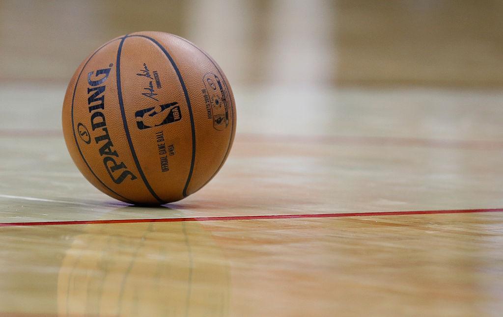 An NBA basketball is seen on the court