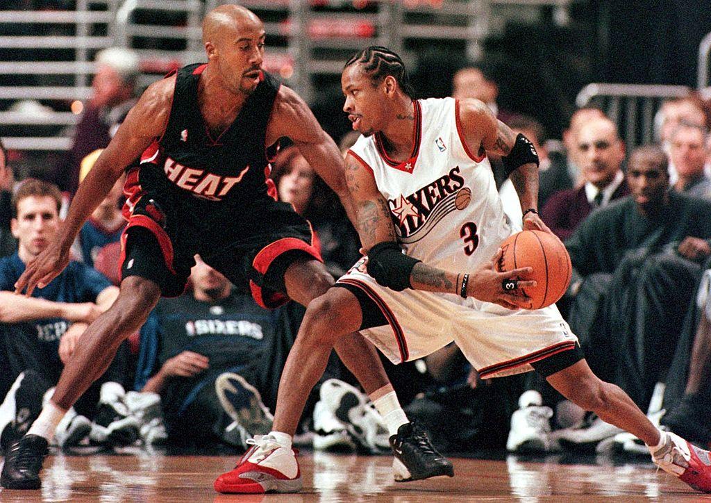 Miami Heat forward Bruce Bowen (L) guards Philadelphia 76er guard Allen Iverson (R)