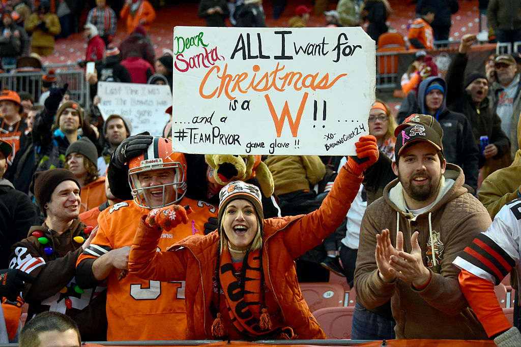 Cleveland Browns fans celebrates after defeating the San Diego Chargers