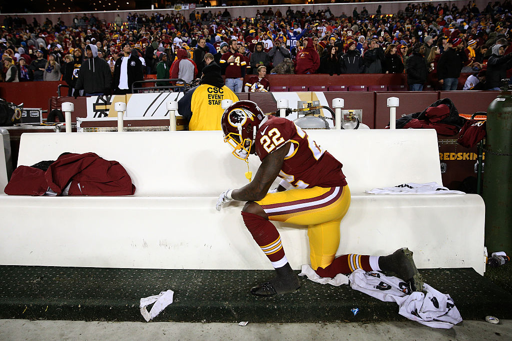 Cornerback Deshazor Everett of the Washington Redskins takes a knee.