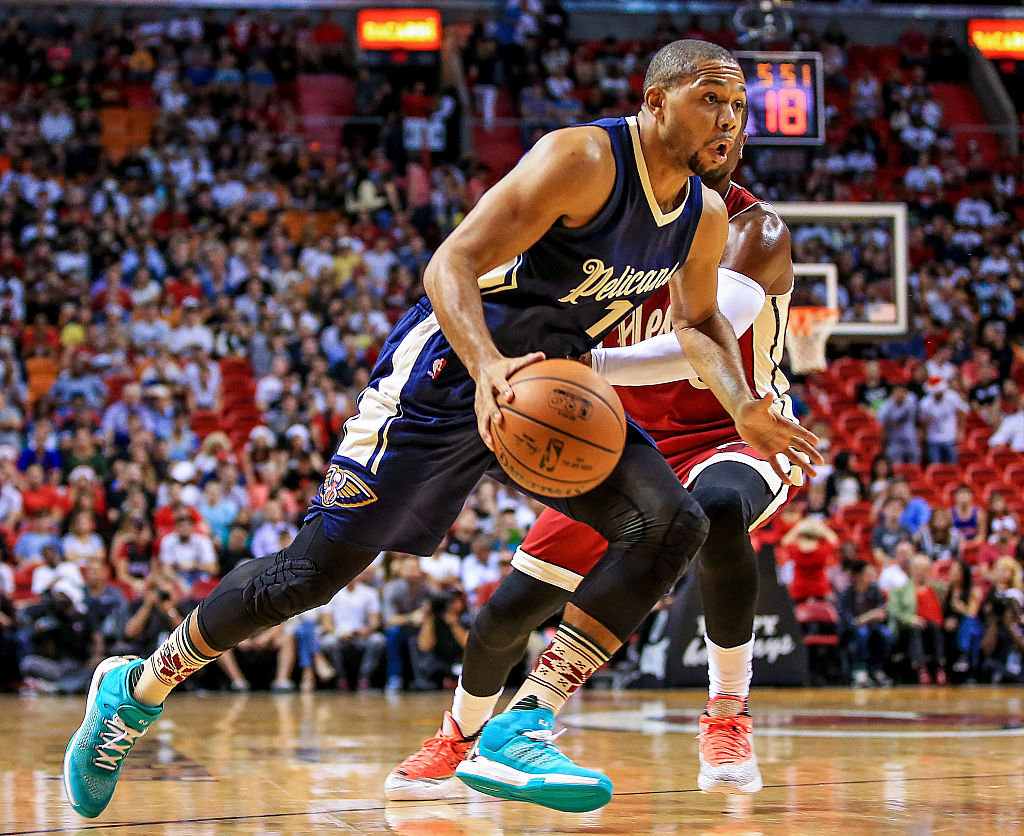 Eric Gordon of the New Orleans Pelicans runs down the court.